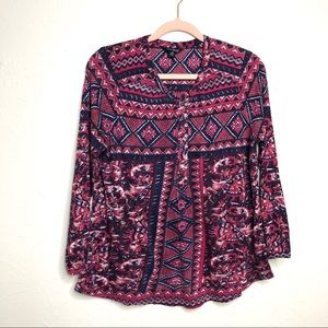 Lucky Brand Boho Printed Top